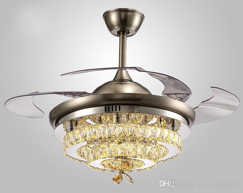 Кристалл вентилятор лампа потолочный вентилятор лампа ресторан невидимый современный простой люстра гостиная светодиодные лампы бытовая спальня свет LLFA