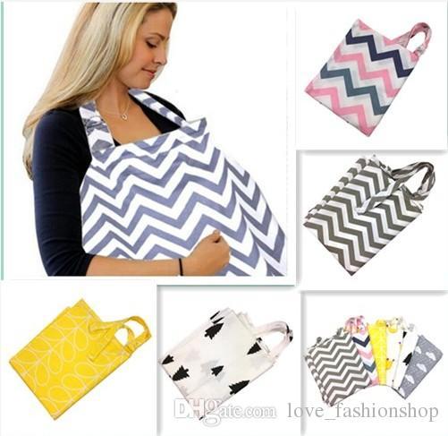 7色シェブロンマルチユースコットン看護カバーベビーママ看護母乳毛髪毛布ベビーカーシートカバーラップ授乳
