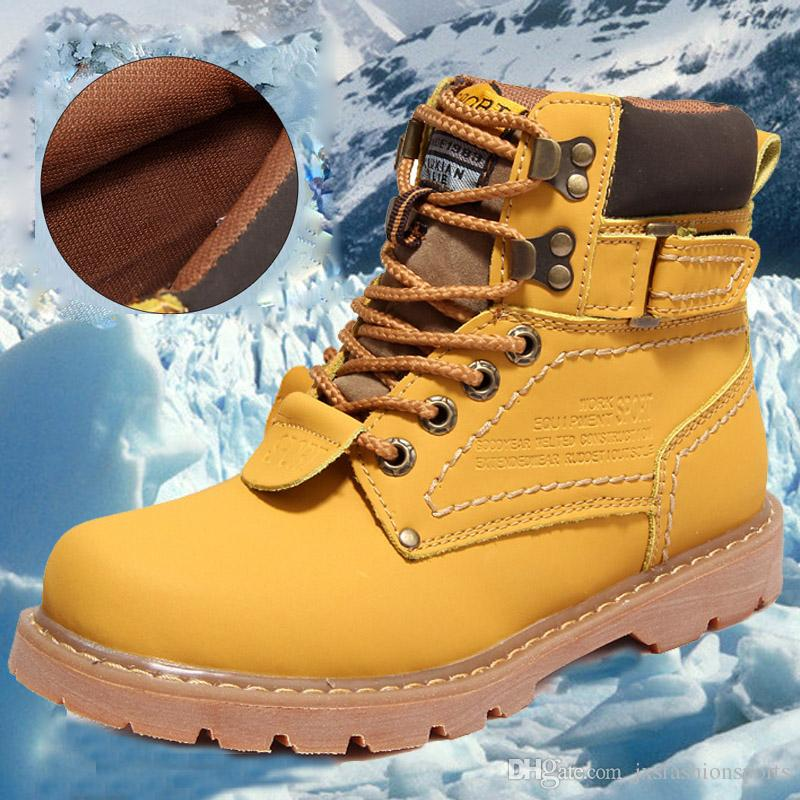 Brand New High-quality leather Martin Boots Brand New Mens Work Hiking boots Non-slip Outdoor Winter Warm Snow Boots Free Shipping