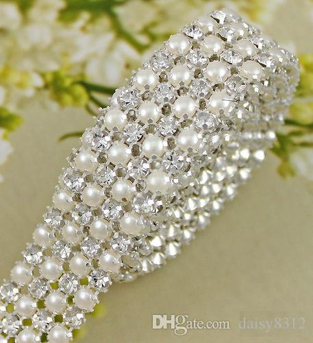 P4 1 Yard 4 Rows Diamond A Rhinestone and Pearl Banding Trim Ribbon For Wedding Cake Party Decoration