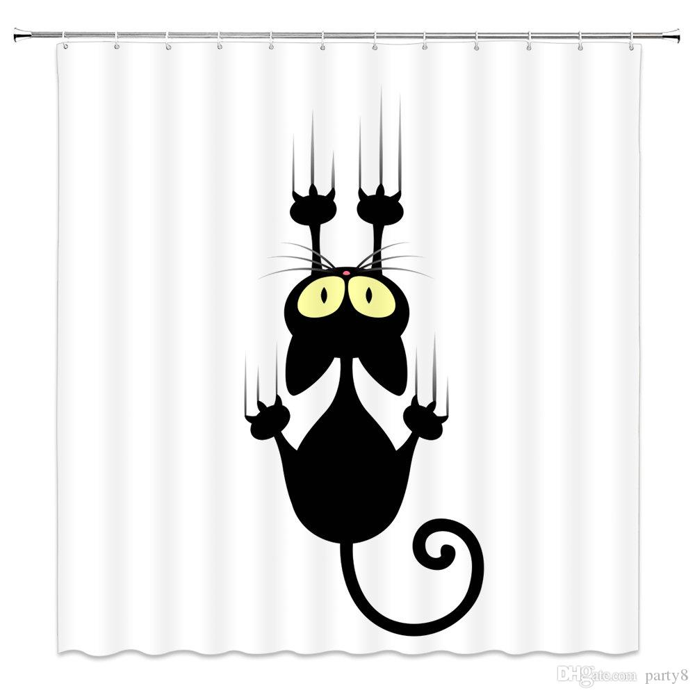 I più venduti Animal Funny Cartoon Black Cat Tende da doccia per il bagno 69 X 70 pollici poliestere impermeabile Home Bath Decor forniture tenda