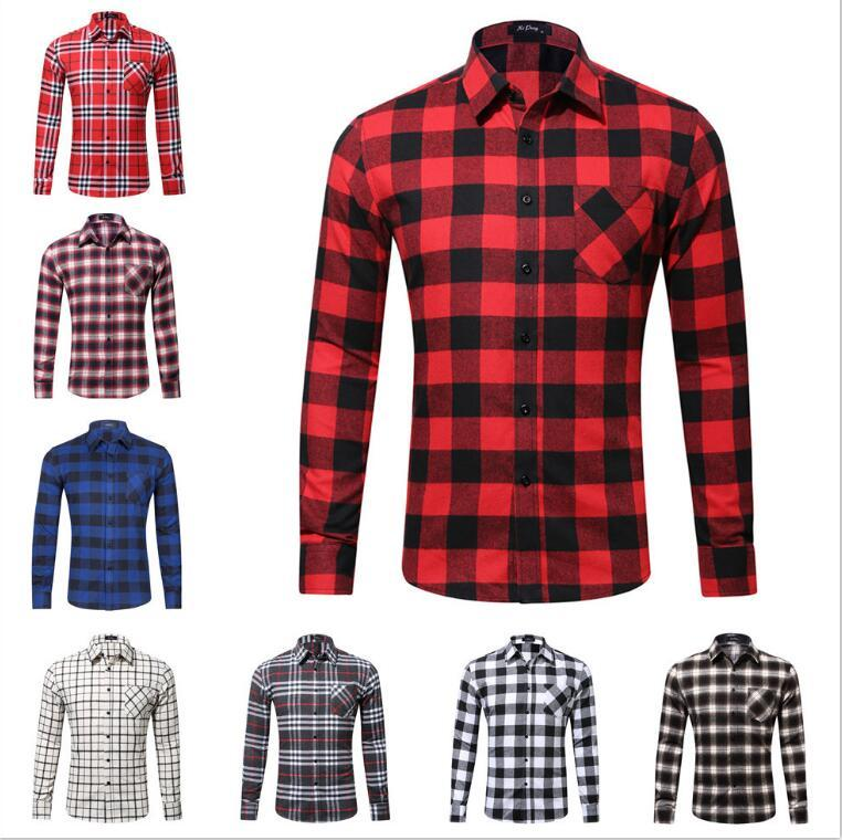 2018 New Mens Long Sleeved Flannel Casual Plaid Shirt Men Checkered Dress Shirts Slim Stylish Fashion Free Shipping S~XXL