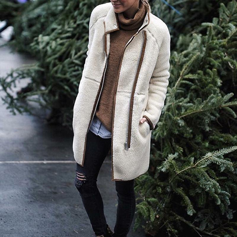 2018 Autumn Winter Fashion Stand Collar Zipper Coat Women Long Sleeve Slim Lamb Wool Thin Casual Outwear Pocket Jackets 8L1304