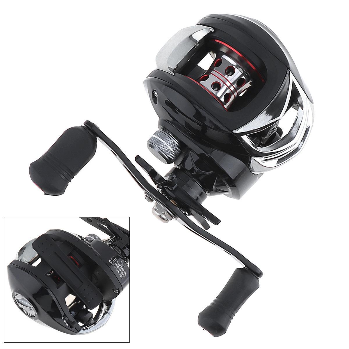 7.2: 1 17 + 1BB Black Baitcasting Bobina da Pesca Freno Magnetico Max Drag 5KG / 11LB Supporto Lega di Alluminio Mano Destra