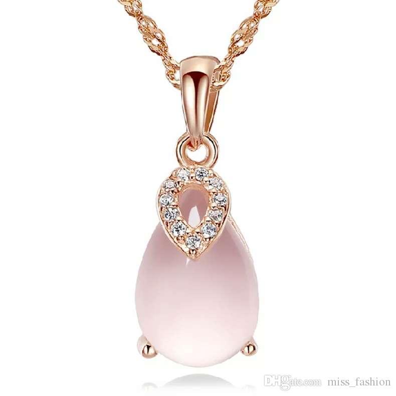 Vrouw zilveren kettingen Crystal Jewelry Hanger Verklaring Kettingen Bruiloft Top Vintage Roze Kwarts Drop Hanger Charms