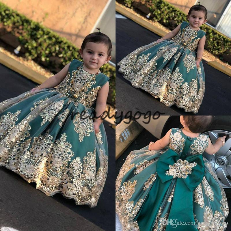 2019 Little Muse Flower Girl Dresses Jewel Neck Lace Gold Appliqued Sequined hunter green Girls Pageant Dress Small Girl Princess Gowns