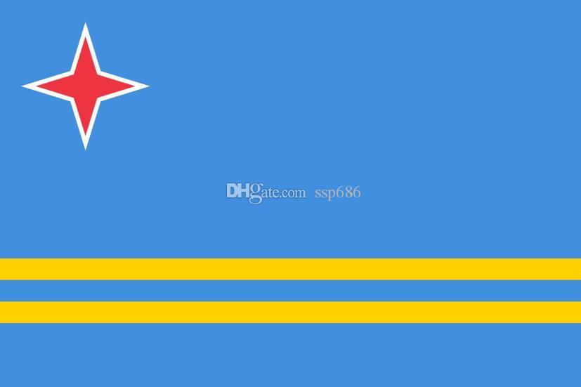 Holandia Holandia Flaga Aruba 3ft X 5FT Poliester Banner Latający 150 * 90 cm Niestandardowa flaga na zewnątrz