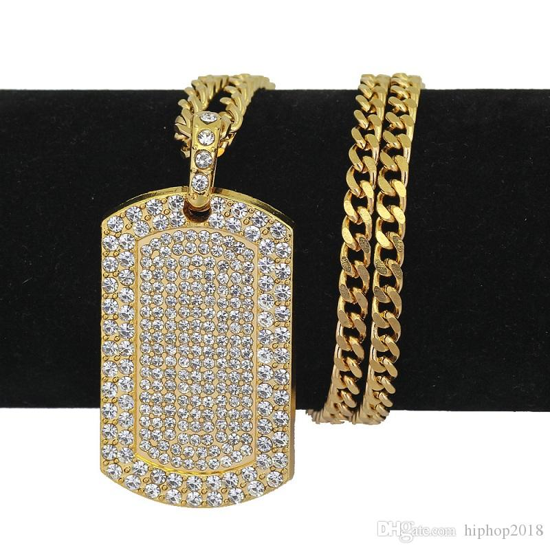 Mens Hip Hop Necklace Jewelry Full Rhinestone Iced Out Dog Tag Pendant Gold Necklace For Men