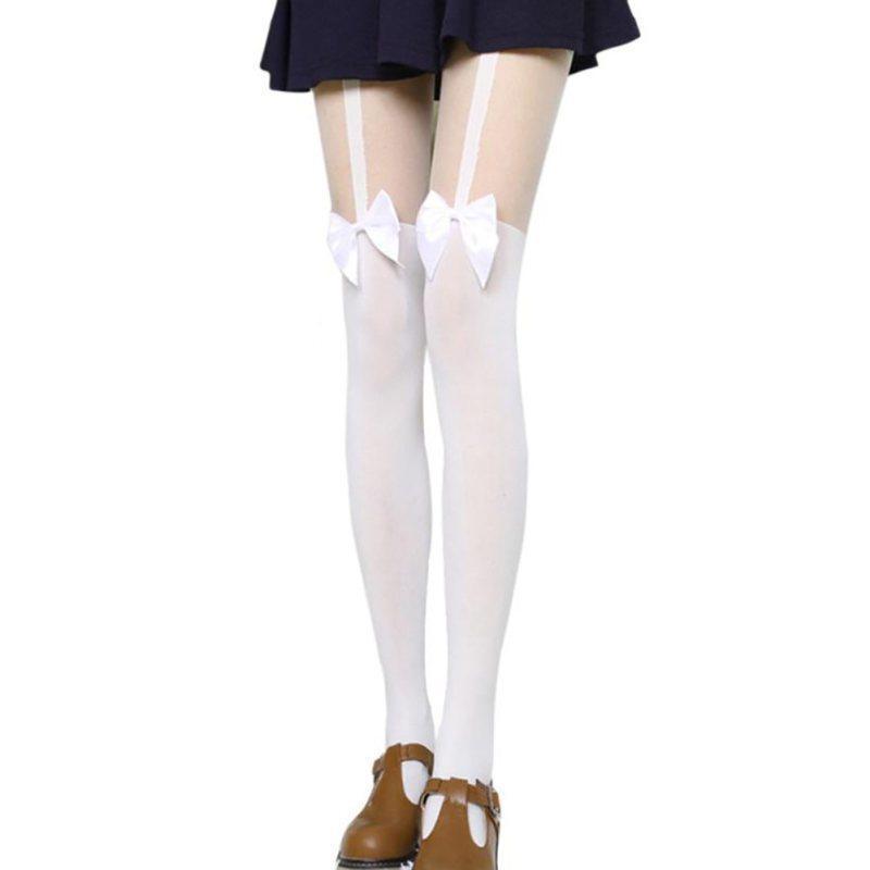 Sevimli Yay Askı Çorap Beyaz / Siyah Diz Çorap Seksi Çorap Ince Stocking Uyluk Uzun Diz Yüksek Çorap Kadınlar 1 Çift Y1890305