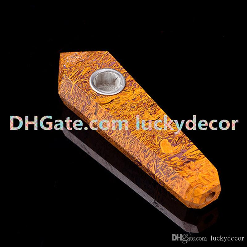 Elephant Skin / Coquina Jasper Holly Crystal Pipe Natural Polished Mariyam Jasper Fossil Mineral Arabic Calligraphy Scriptstone Smoking Pipe