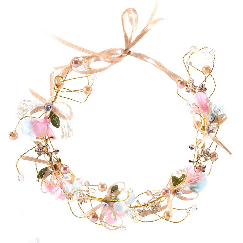 New hand-woven bride bow flower garland bridesmaid hair band flower children head ring headdress photo hair accessories wholesale