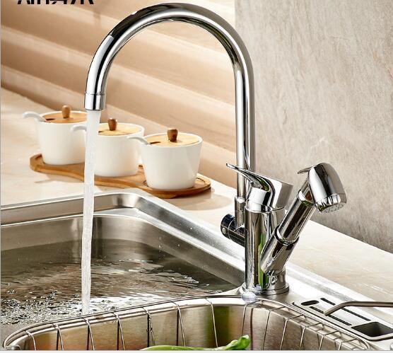 2019 New Arrivals Kitchen Faucet With Pull Out Hand Shower Head Brass  Chrome Kitchen Sink Faucet Pull Out Water Tap Sink Tap From Caley, $172.55  | ...