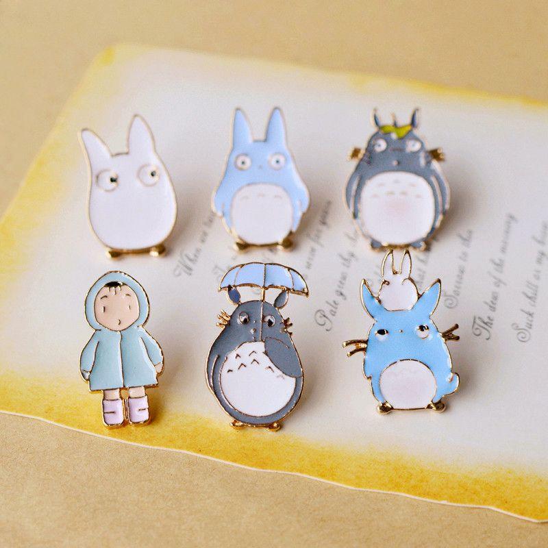 7 pcs / lot Anime Totoro Émail Broche Ensemble Métal Badges pour Denim Veste Femmes Chemises À Dos Mignon Enfants Bijoux nz22
