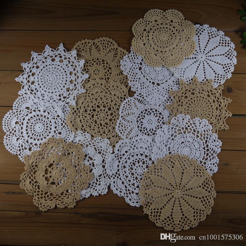 """gran cantidad de 14 Hand Crochet tapete blanco Beige Cotton 7 """"-8"""" RD para tapete / almohada casera decorativa."""