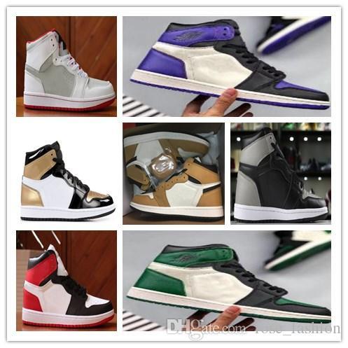 1S عالية OG الصاعد من السنة الصنوبر الأخضر المحكمة الأرجواني 1 الظل أحذية كرة السلة تربى تو لعبة رويال سبورتس رياضة شيبمنت مجانا