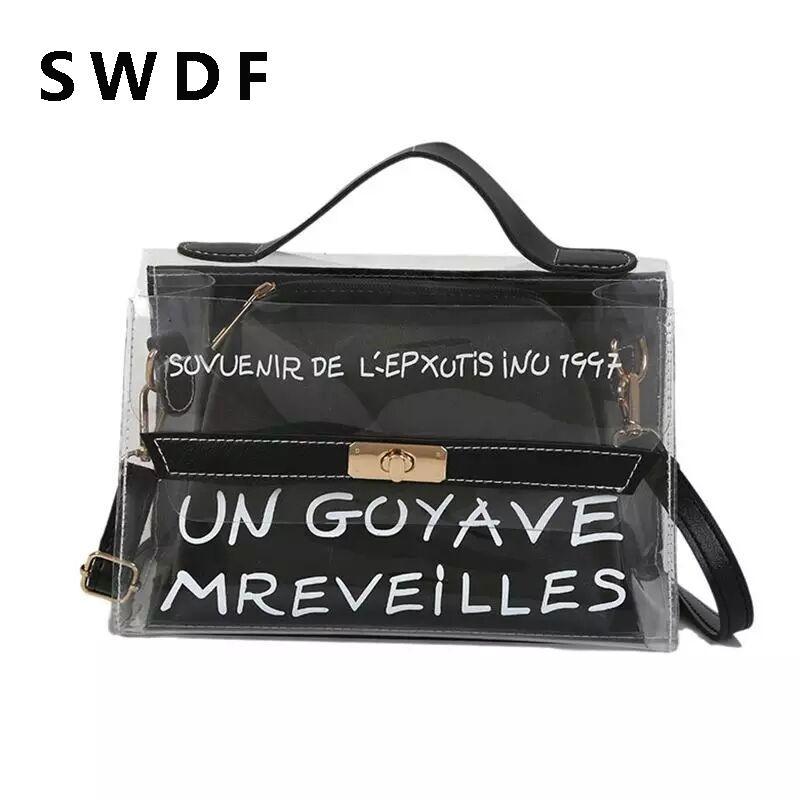 SWDF Fahsion классический клатч Messenger сумки небольшой пляжная сумка изысканный ПВХ прозрачный мешок стильный Crossbody сумки
