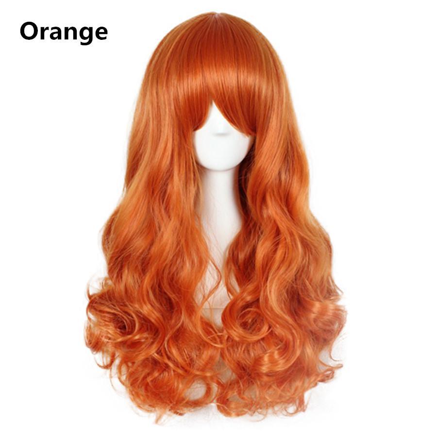 롱 웨이브 코스프레 가발 블랙 퍼플 핑크 슬리버 그레이 금발 화이트 오렌지 브라운 23 색 합성 머리 가발