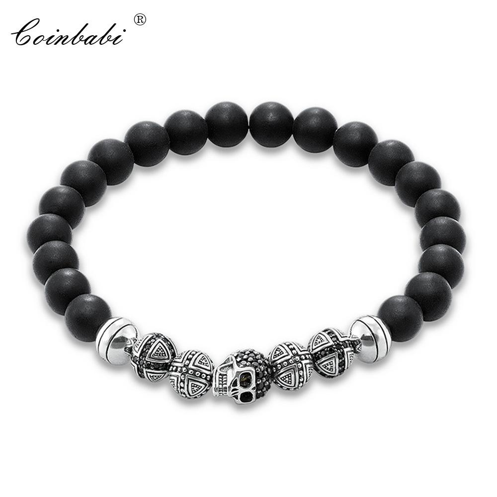 Thomas Skull Cross & Matted Obsidian Beads Rebel Elastic Bracelet, Ts 925 Sterling Silver Heart Punk Jewelry Gift For Men Women Y1891709