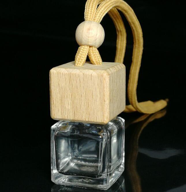 DHL auto Cube bottiglia di profumo di copertura di legno appeso auto profumo Ornamento Deodorante oli essenziali diffusore di profumo vuota bottiglia di vetro 8ml