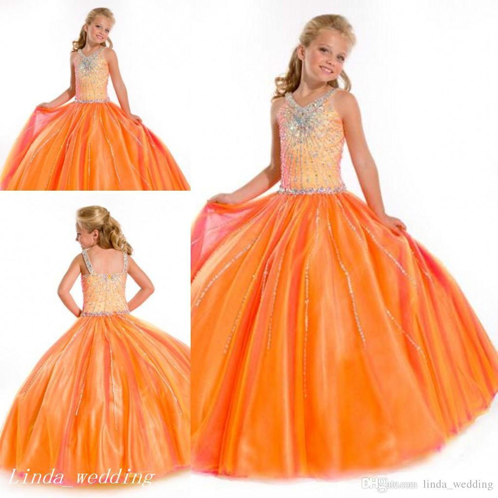 Nouvelle Arrivée Sugar Burnt Filles Orange Girls Pageant Robe Princesse Perlée Perlée Cupcake Robe de bal pour jeune fille courte Jolie robe pour petit enfant