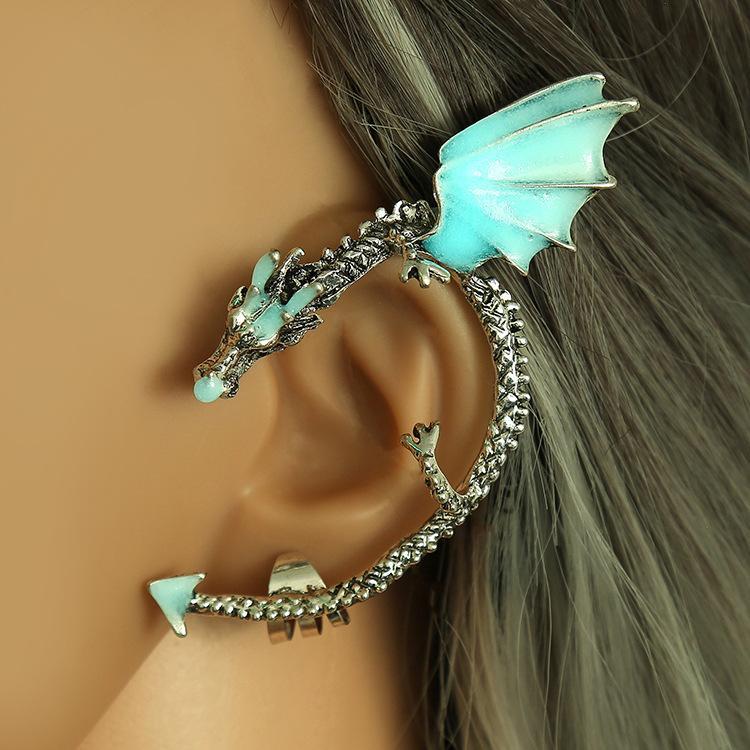 Флуоресцентная Luminous клип серьги Clip-на моде панк дракона клип серьги уха манжеты серьги ушные уха кольцо Earing