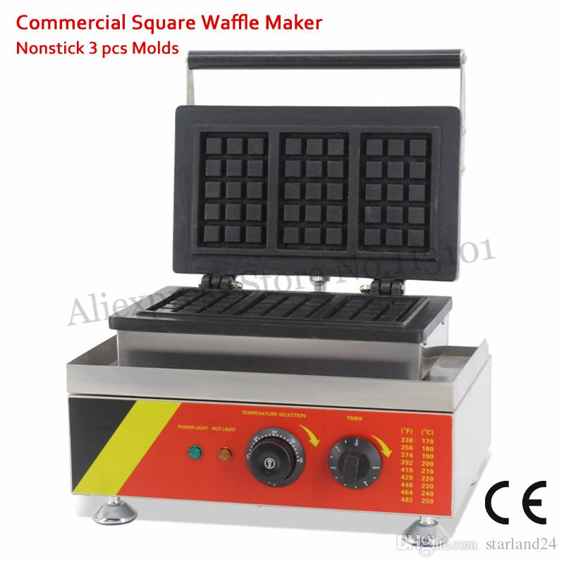 Elektrisches Rechteck-förmiges Waffelmaschine-Edelstahl-Nonstick-Kuchen-Hersteller 3 formt 110V / 220V 1500W für Restaurants