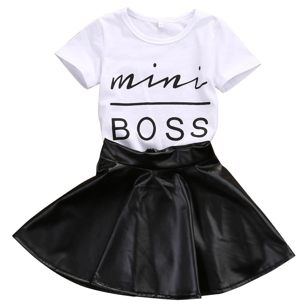 2018 Yeni Moda Yürüyor Çocuk Kız Giysileri Set Yaz Kısa Kollu Mini Boss Tişört Tops + Deri Etek 2 ADET Kıyafet Çocuk Suit