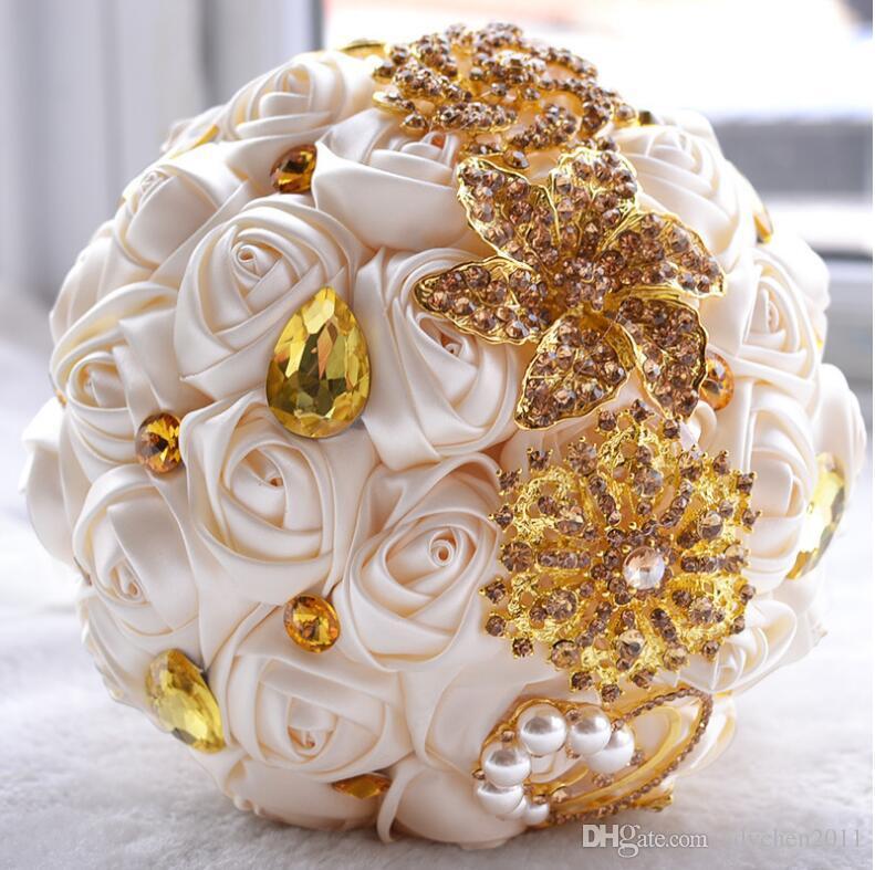 Крем атласная цветок невесты Свадебный букет с золотом ювелирные изделия Кристалл Жемчуг Стразы Искусственные цветы Свадебные Брошь Букет Новый конструктор