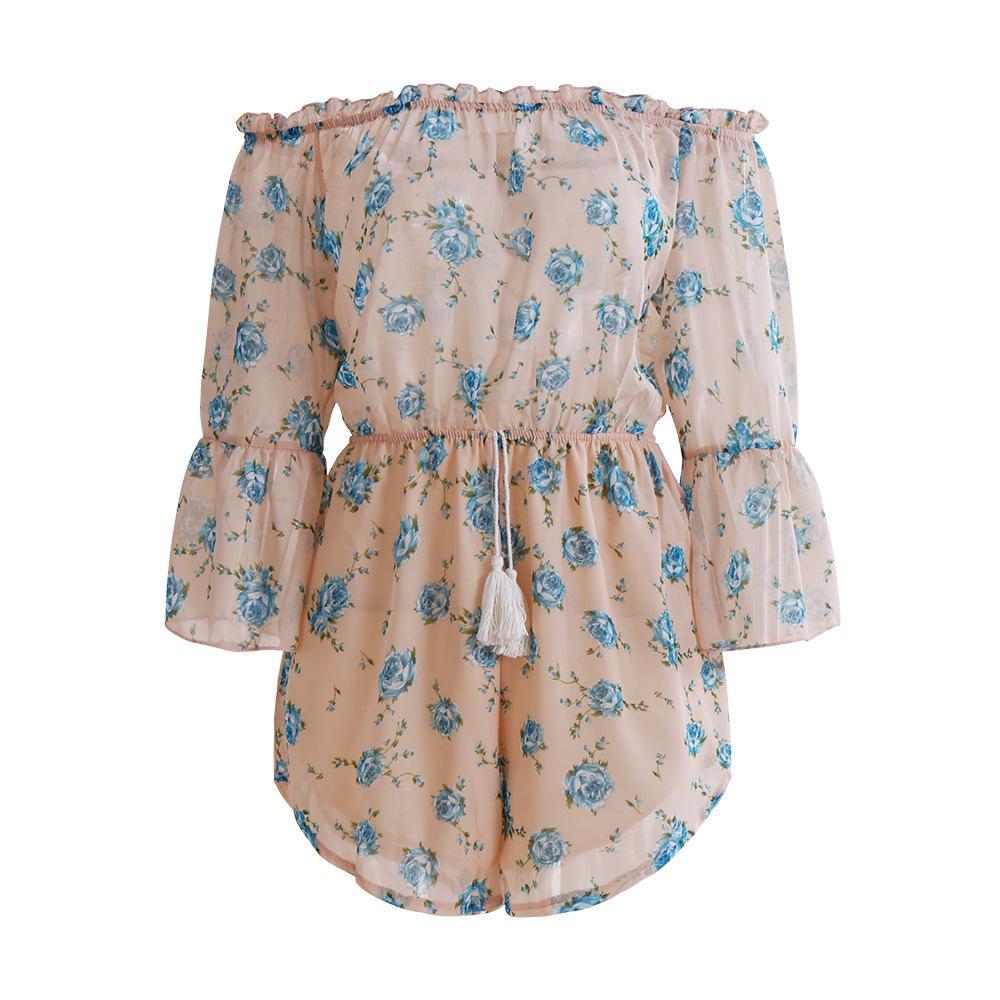 Neue europäische und amerikanische Damen-Shorts, Chiffon-bedruckte Hose F0529