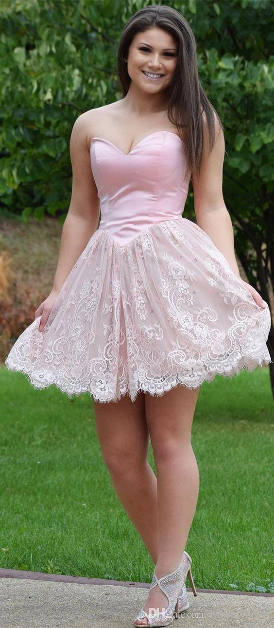 2018 New Arrival Pink Graduation Dresses Plus Size Sweetheart Lace A Line  Backless Beads Short Prom Homecoming Formal Dress For Girls Long White ...
