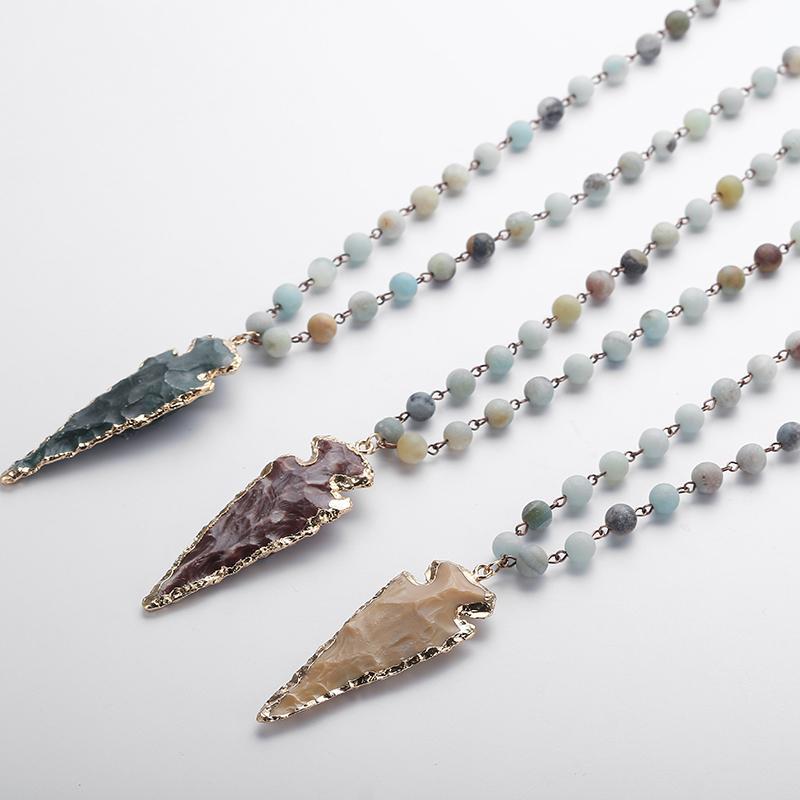 Moda Amazonit Taşlar Tespih Zinciri Arrowhead Kolye Kolye El Yapımı Kadınlar Doğal Taş Boncuk Boyun