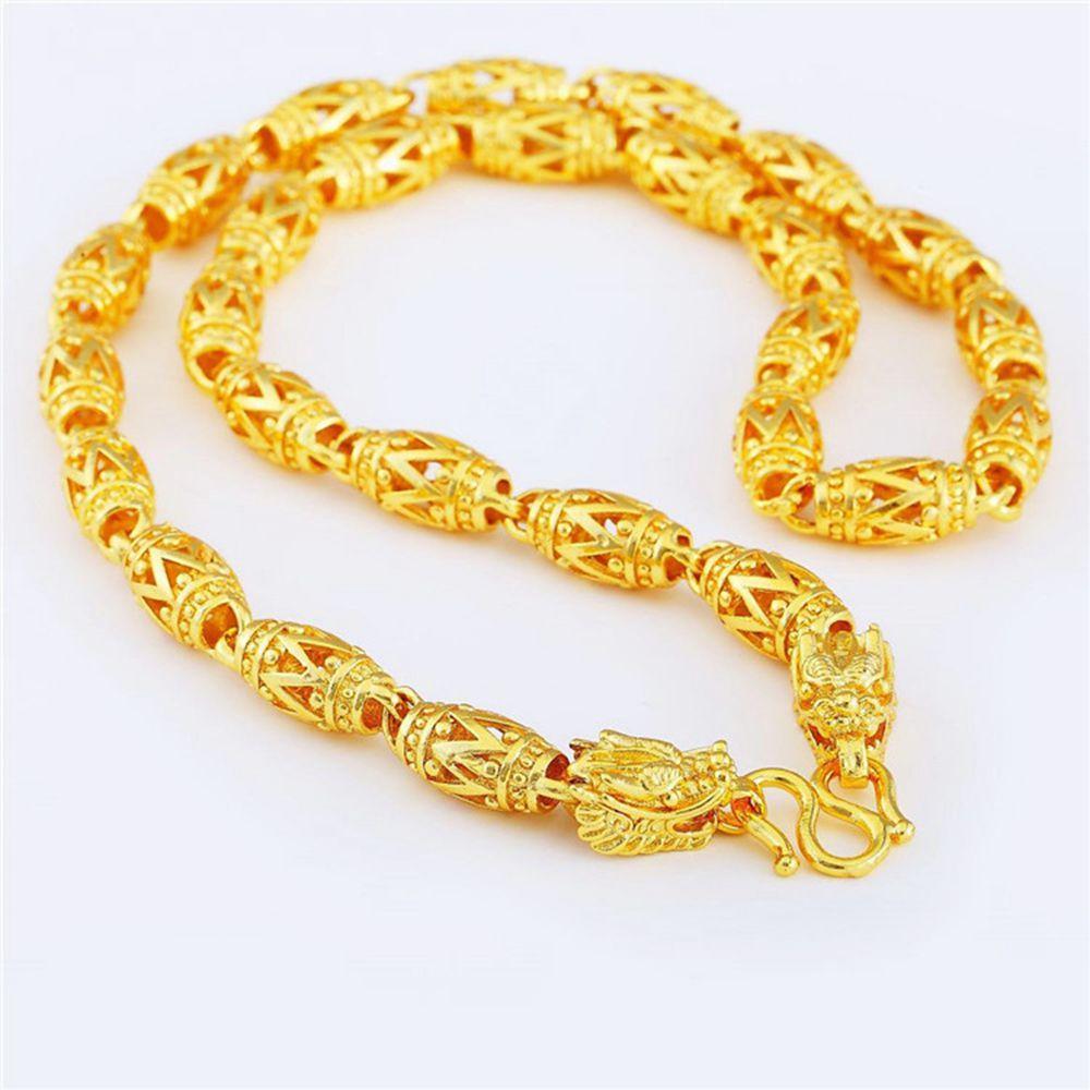 Mens Hollow Geometry Mens Collana Oro giallo riempito in stile classico regalo di gioielli di moda