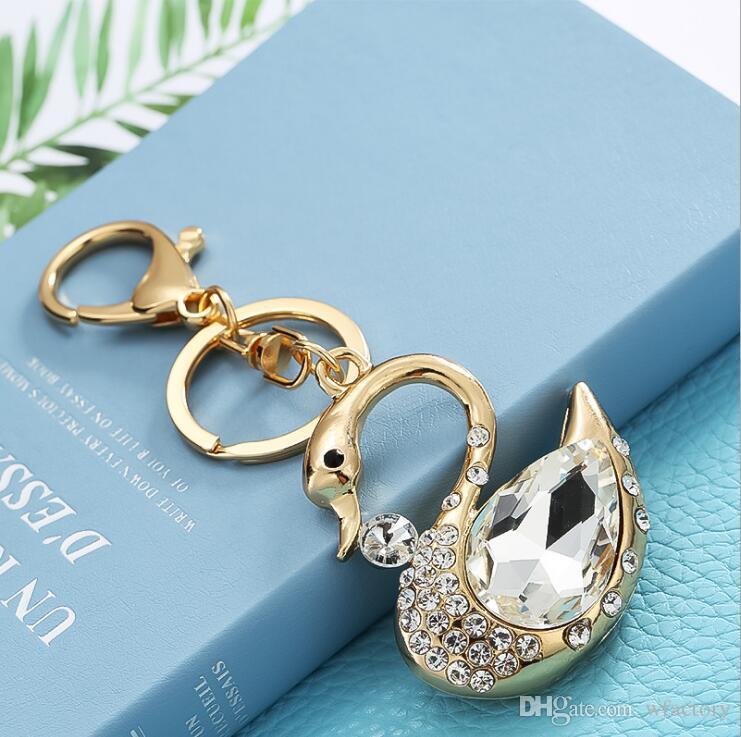 Porte-clés de luxe porte-clés Swan - Belle cristal strass Porte-clés Porte-clés Femmes Charme Bourse Sac à main voiture clé Pendant