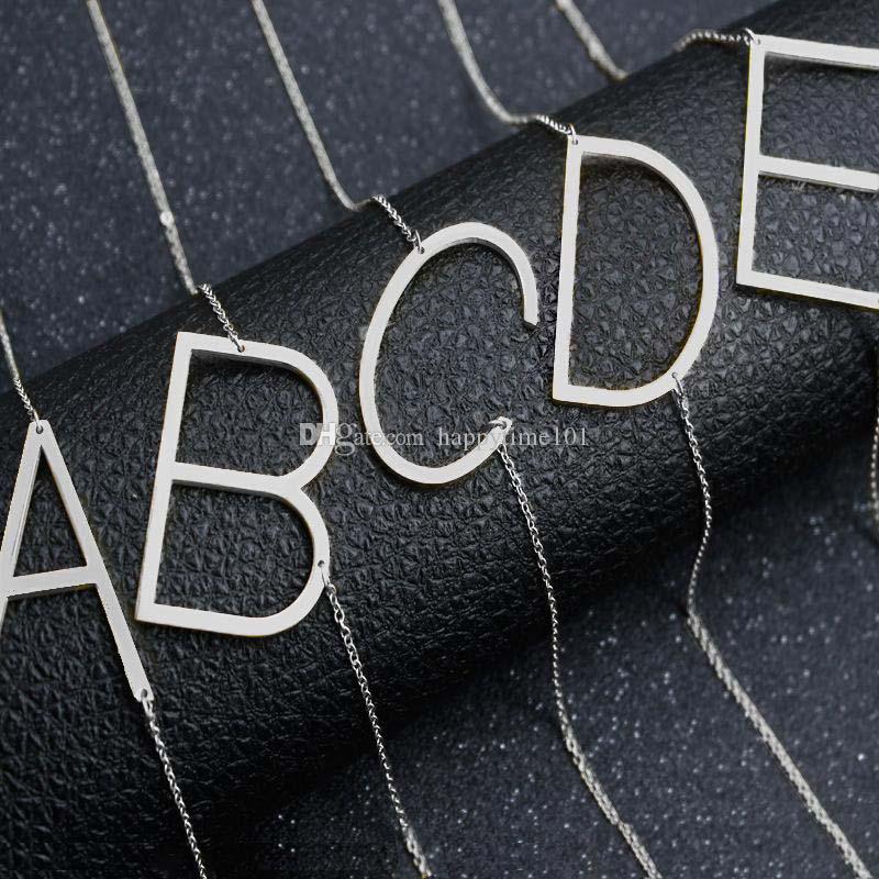 Acciaio inossidabile A-Z Alfabeto inglese Collana iniziale Argento placcato oro lettera maiuscola ciondolo gioielli di moda per le donne