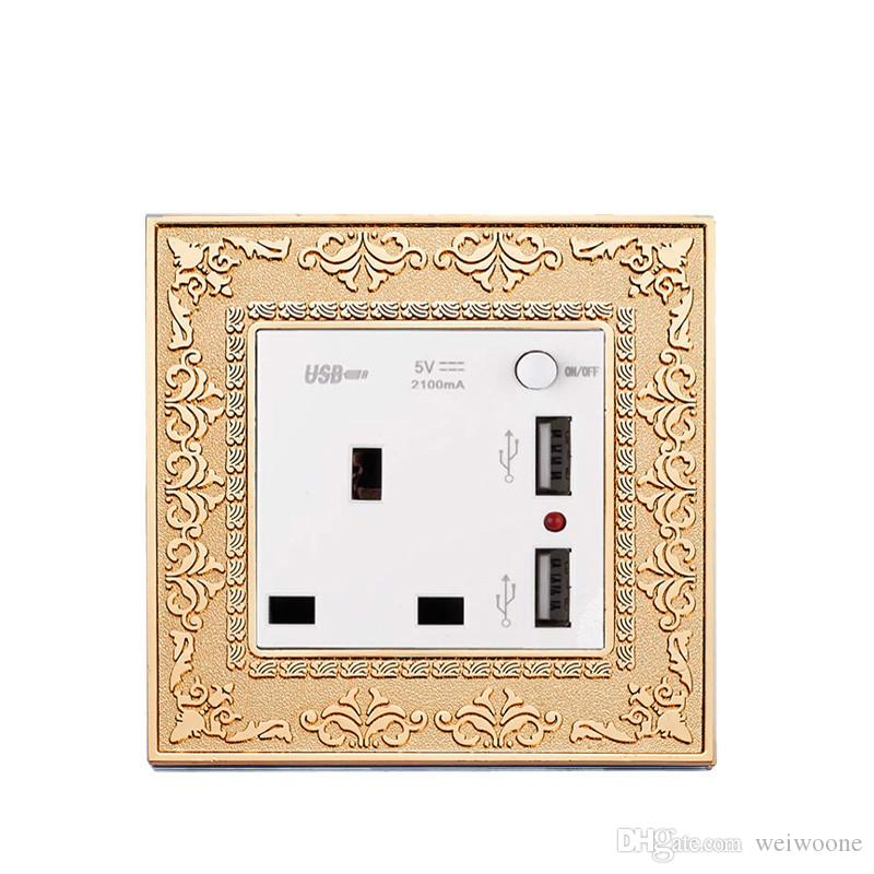 UK standard Gold color 13A 3 Pin wall socket and double USB socket