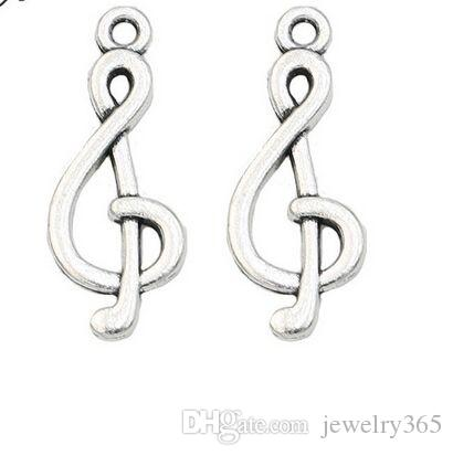 200pcs/lot Ancient Silver Alloy Musical Note Charms Pendants For diy Jewelry Making findings 26x10mm