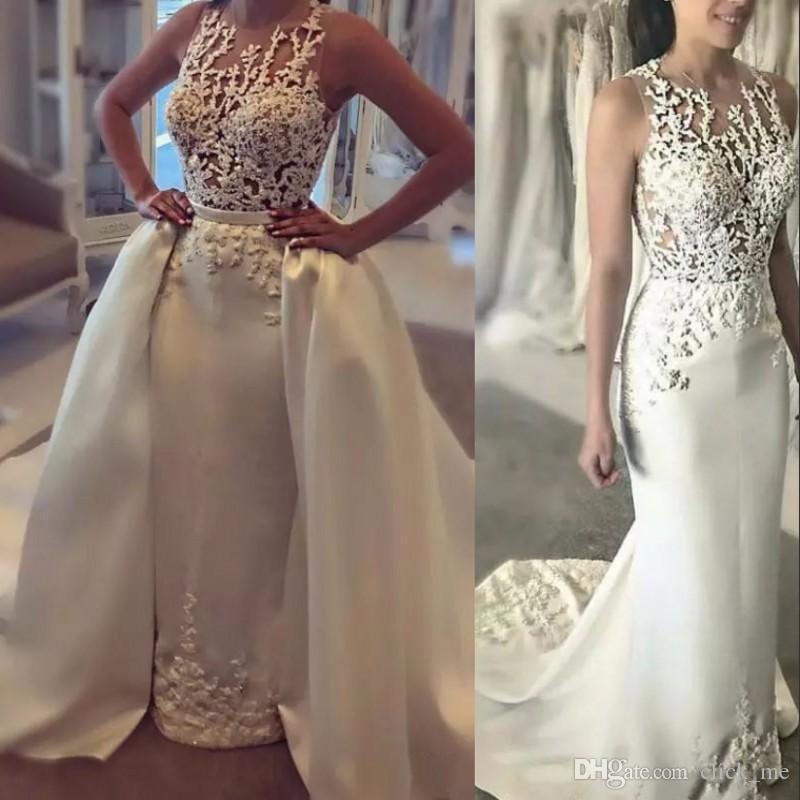 Satin overskirts robes de mariée pure cou bijou perles dentelle appliques robes de mariée sexy dos couverts de robe de mariée sirène