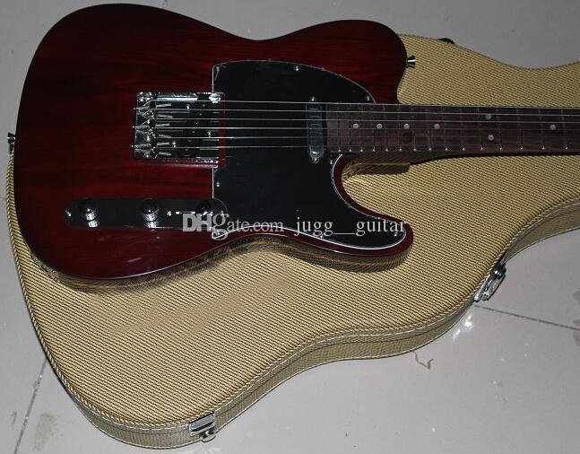 Özel Sınırlı George Harrison Tele TL Sandviç Kahverengi Elektro Gitar Gülağacı klavye Dot Kakma, Modern F Tuner, Sarı Naylon Hardcas