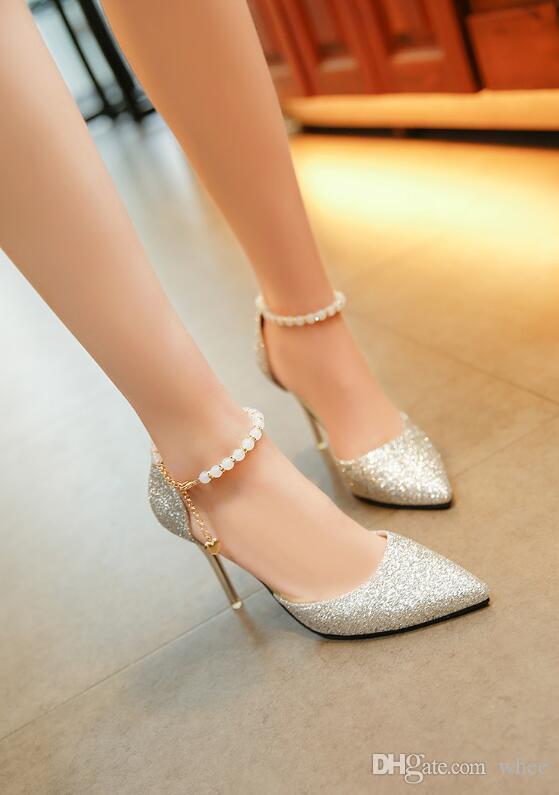 2018 Nuevo listado de mujeres vestido de zapatos sandalias de tacones altos Fine con mujeres bombas cuentas de lentejuelas talones sandalias huecas 8