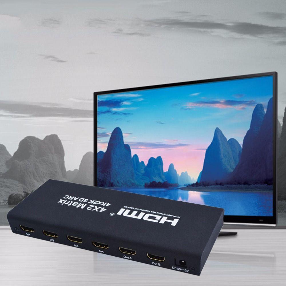 Freeshipping 4x2 HDMI Matrix HDMI Schalter Switcher HDMI Splitter Unterstützung ARC 4 Karat x 2 Karat Splitter Hub Box Für PS3 Für Xbox 360 EU Stecker Typ