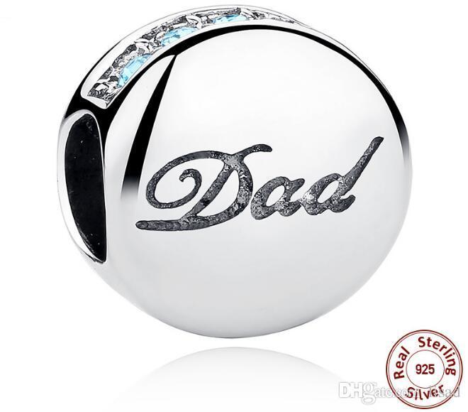 """Fabrik Großhandel 925 Sterling Silber Charms für DIY Armbänder Anhänger, Blue Diamond und """"Dad"""" Druck lose Perlen für VATERTAG"""