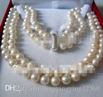 "Free Shipping @@@@@ 8-9 MM AKOYA SALTWATER PEARL NECKLACE 18"" a"
