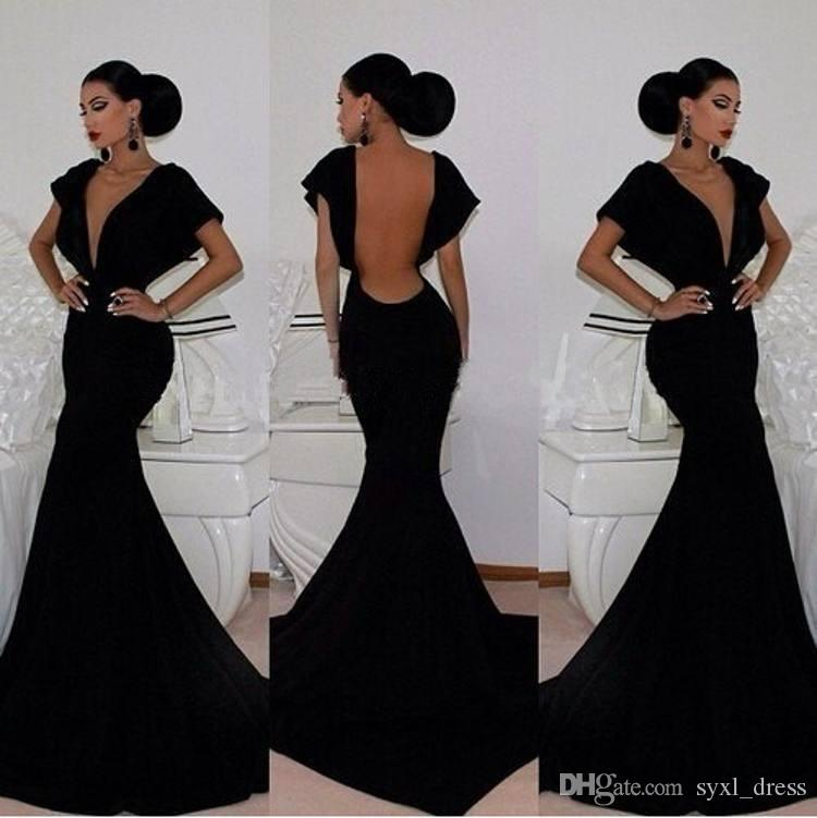 2019 Simple Evening Dresses Sexy V-Neck Prom Dress Party Wear Bare Backless Ruched Sweep Train Black Party Gowns