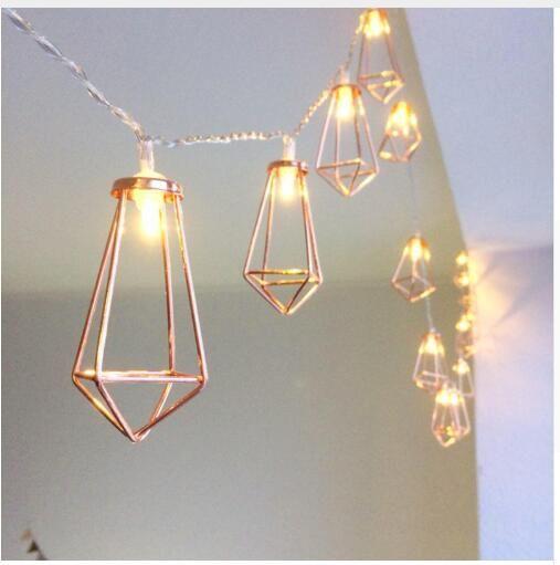 레트로 철 금속 다이아몬드 LED 요정 문자열 조명 배터리 크리스마스 홀리데이 웨딩 파티 홈 장식 (10)의 LED 랜턴 문자열 램프