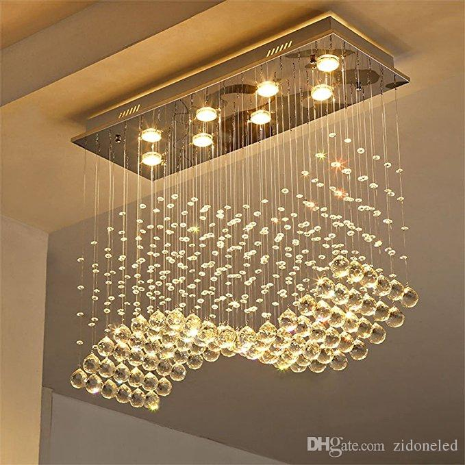 Contemporary Crystal Rectangle Chandelier Rain Drop Crystal Ceiling Light Fixture Wave Design Flush Mount For Dining Room