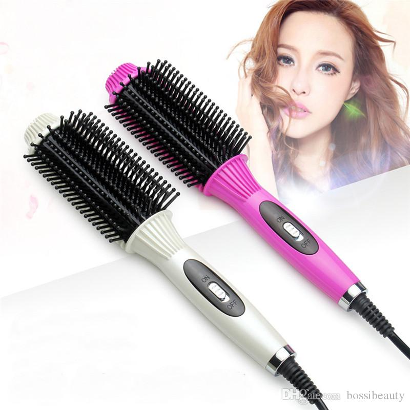 Hot Sale Curling Hair Straightener Hair Comb Professional Fast PTC Heating Electric Hair Straightening brush Styling Tools