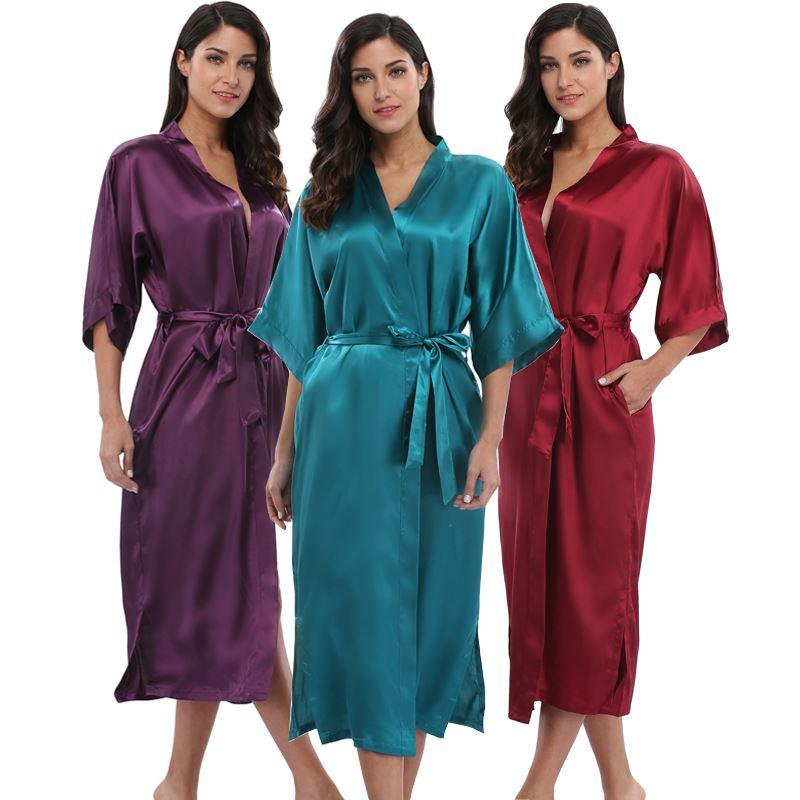 Cetim das Mulheres Longo Kimono Robe Roupão Sexy Nupcial Da Dama De Honra Roupão de Banho Mulher Elegante Festa de Casamento Sleepwear Robes