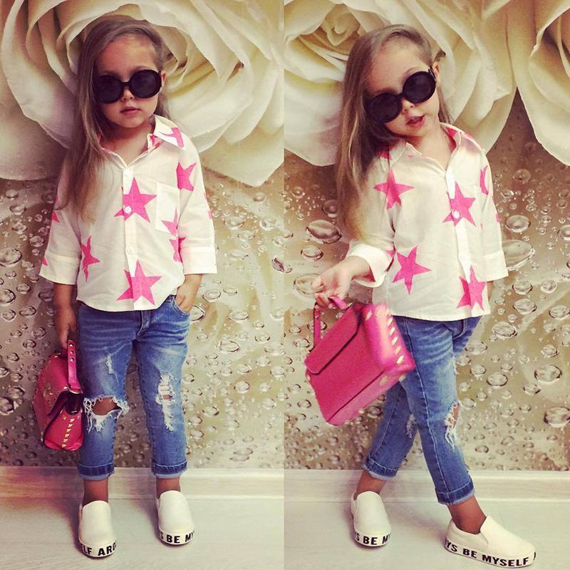 Conjunto de ropa de niña de bebé para niños pequeños Camiseta de manga larga + Pantalones de mezclilla con agujero Ropa para niños Conjunto de trajes