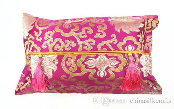 Classique soie Brocade Fabric Tissue Box de Noël couverture papier Porte-serviette boîtier haut de gamme Tassel amovible du visage Kleenex Box Cover 10pcs / lot