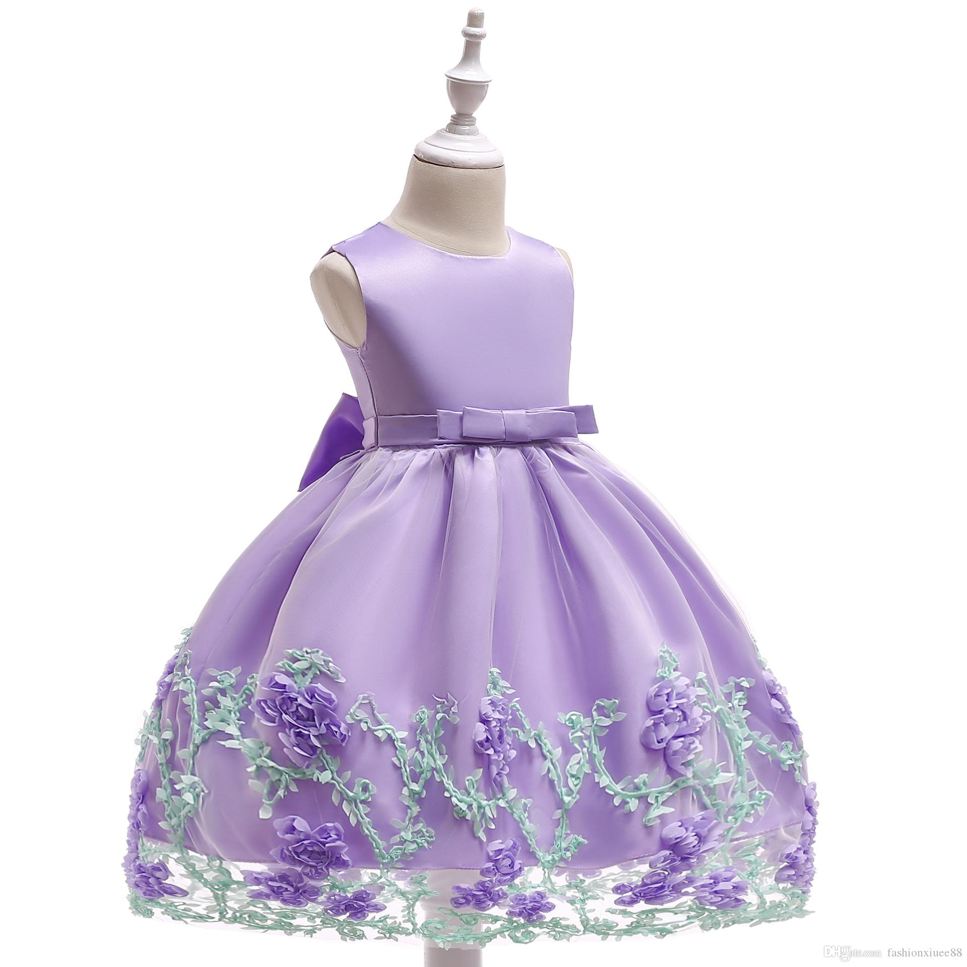 2019 Mermaid Flower Girls Dresses Scoop Cap sleeve Zipper Sequined 3D-Floral Applique Tulle Tiered Skirts Kids Gown